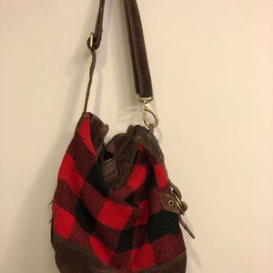 Lucky Brand leather/ flannel wool bag